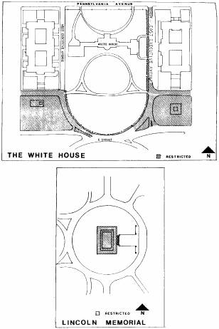 drawings of the White House and Lincoln Memorial